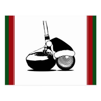 Christmas Golf Ball   and Club Postcard