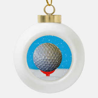 Christmas Golf Ball in the Snow Ceramic Ball Decoration