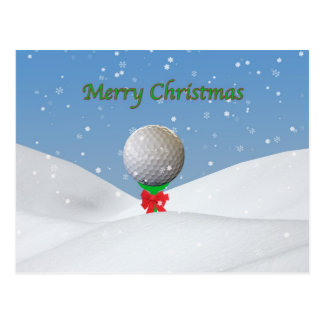Christmas, Golf Ball in the Snow Postcard