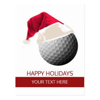 Christmas golf Ball Santa Hat postCards
