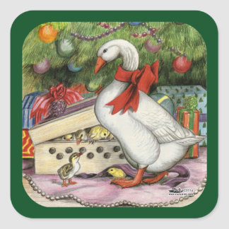 Christmas Goose Square Sticker