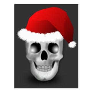 Christmas Goth Skull Santa Claus Postcard