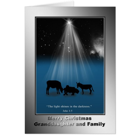 Christmas, Granddaughter and Family, Religious Card