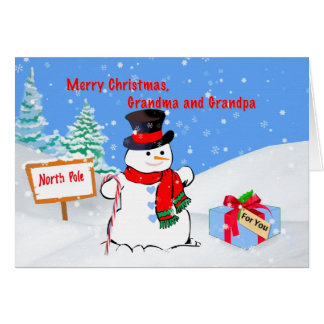 Christmas, Grandma and Grandpa, Snowman, Gift Card