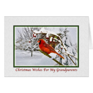 Christmas, Grandparents, Cardinal Bird, Snow, Card