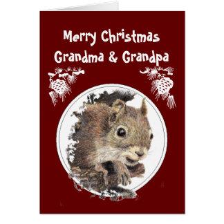 Christmas Grandparents, Grandkids, Humor Squirrel Greeting Card