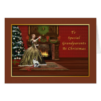 Christmas, Grandparents, Old Fashioned Greeting Card