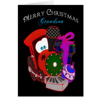 Christmas - Grandson - Train with gifts Greeting Card