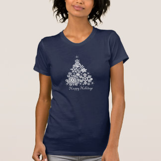 Christmas graphic snowflakes christmas tree tee