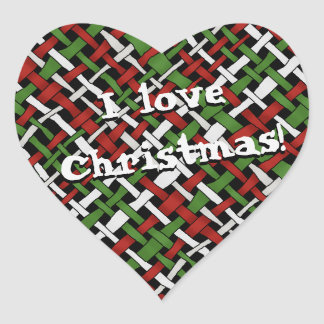 Christmas Graphical Colorful Woven Burlap Heart Sticker