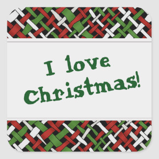 Christmas Graphical Colorful Woven Burlap Square Sticker