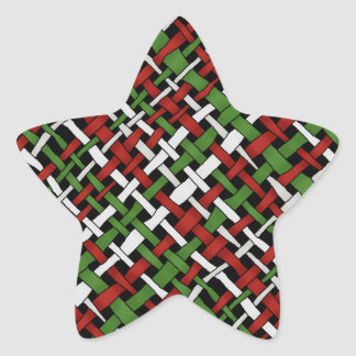 Christmas Graphical Colorful Woven Burlap Star Sticker