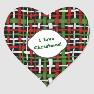 Christmas Graphical Woven Burlap any Text Heart Sticker