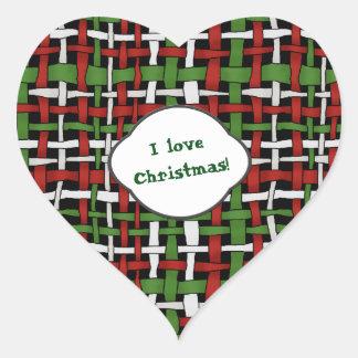 Christmas Graphical Woven Burlap Text Heart Sticker