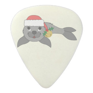 Christmas Gray Seal with Santa Hat & Gold Bell Acetal Guitar Pick
