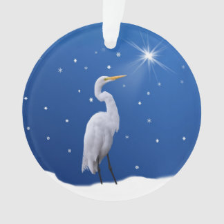 Christmas, Great Egret Bird, Star, Religious Ornament