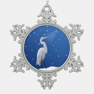 Christmas, Great Egret, Star Snowflake Pewter Christmas Ornament