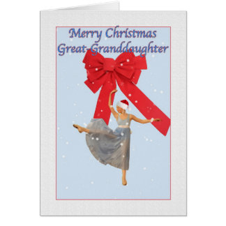 Christmas, Great Granddaughter, Ballerina Greeting Card