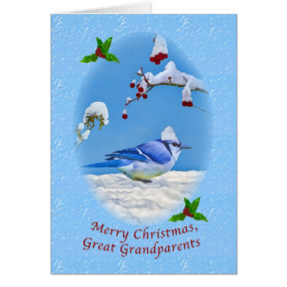 Christmas, Great Grandparents,  Blue Bird and Snow Greeting Card