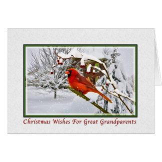 Christmas, Great Grandparents, Cardinal Bird, Snow Greeting Card