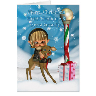 Christmas Great Grandparents Elf Reindeer Rudolf Greeting Card
