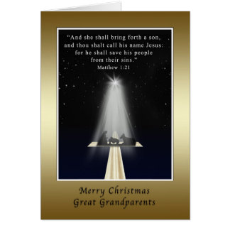 Christmas, Great Grandparents,  Religious Greeting Card