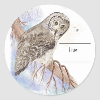 Christmas Great Grey Owl Gift Tag Sticker