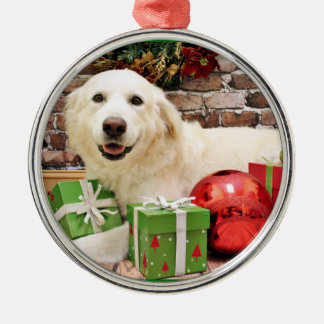 Christmas - Great Pyrenees Labrador X - Ginny Silver-Colored Round Decoration
