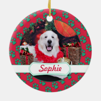 Christmas - Great Pyrenees - Sophie Round Ceramic Decoration