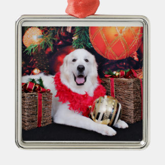 Christmas - Great Pyrenees - Sophie Silver-Colored Square Decoration