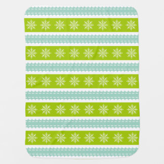 Christmas Green and Blue Stripes With Snowflakes Receiving Blankets