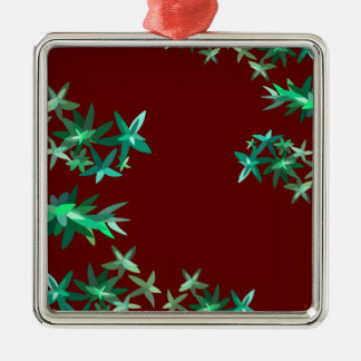 Christmas Green and Red Foliage Metal Orname Silver-Colored Square Decoration