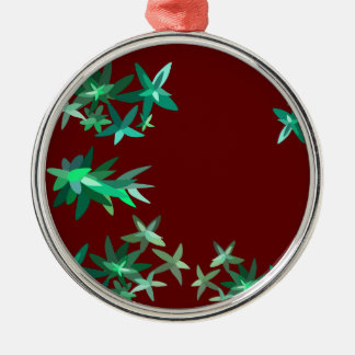Christmas Green and Red Foliage Print Metal Ornam Silver-Colored Round Decoration