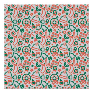 Christmas Green and Red Icons Pattern Poster