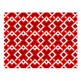 Christmas green and white square pattern on red postcard