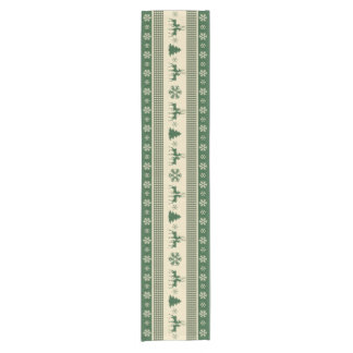 "Christmas green and white table runner 14"" x 72"""