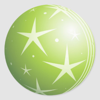 Christmas Green Bubble Stars & Sparkles Round Sticker