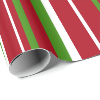 Christmas Green, Dark Red, White Barcode Stripe Wrapping Paper