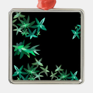 Christmas Green Foliage Pattern Silver-Colored Square Decoration