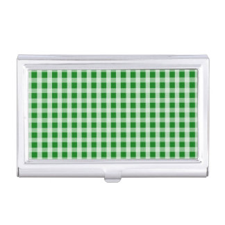 Christmas Green Gingham Check Plaid Business Card Holder