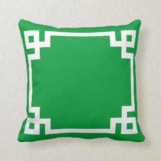 Christmas Green Greek Key Pillow