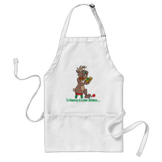 Christmas Green Nosed Reindeer Adult Apron