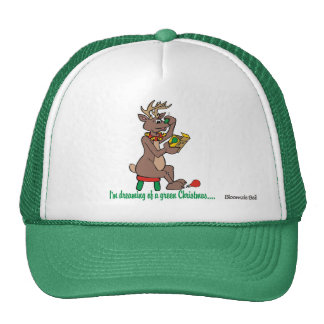 Christmas: Green Nosed Reindeer Mesh Hats