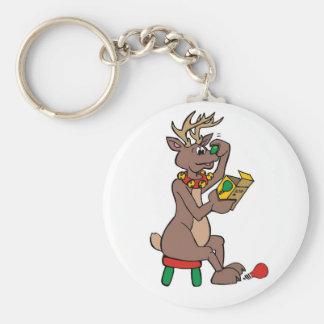 Christmas Green Nosed Reindeer Keychain