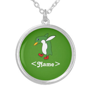 Christmas Green Penguin with Red Ice Skates Round Pendant Necklace