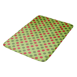 Christmas green polka dot pattern bath mat