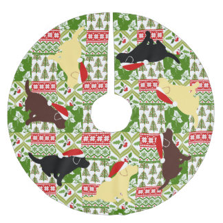 Christmas Green Quilt Labrador Puppies Brushed Polyester Tree Skirt