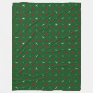 Christmas Green, Red and White Throw Fleece Blanket