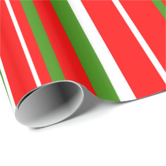 Christmas Green, Red, White Barcode Stripe Wrapping Paper