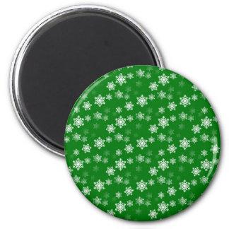 Christmas Green Snow Flurries Pattern Fridge Magnet